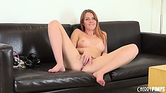 Cute girl Marie McCray takes different positions during masturbation