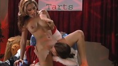 Santa's been waiting to bust his load in Jennifer Luv's pussy